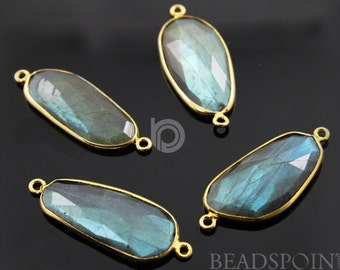 Natural Labradorite Faceted Bezel Connector, 24K Gold Vermeil Over Sterling Silver, Incredible Blue Fire 18x40mm, 1 Piece, (LABC020-N)