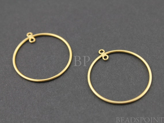 24K Gold Vermeil Over  Sterling Silver Round Circle Hoop 24mm Chandelier Finding w/ Inside Ring, Components for Earrings, 1 PAIR (VM/720/24)