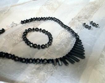 So Hot Hematite Fan Necklace & Earrings Dagger Cleopatra Collar Sterling Silver