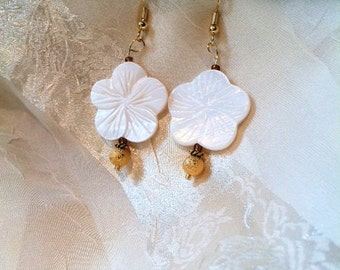 Sweet Summer Vintage Inspired White MOP & Gold Dust  Flower Earrings