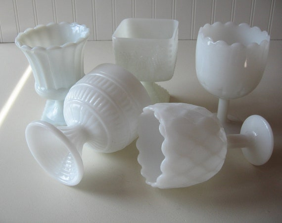 Wedding Tablesetting, Milk Glass Compotes, Variety Set of 5 compotes,  Bridesmaid gifts, Wedding Decor
