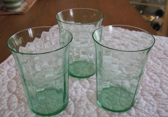 Vintage Depression Green Glass Drinking Glasses