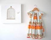 Girls Summer Dress-Orange Dancing Elephants Circus- peasant dress -baby-toddler-Handmade Children Clothing by Chasing Mini.