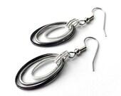 Silver and Black Earrings, Trendy Earrings, Everyday Jewelry, Modern Earrings, Gift for Woman, Rocker Earrings,