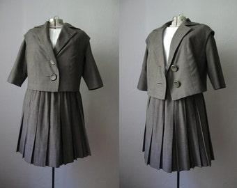 1960s Suit Mad Men / Brown Plaid 60s Wool Suit / Large