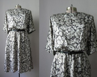 1980s Vintage Dress Black Silky Secretary Dress 80s Splatter Print / Medium