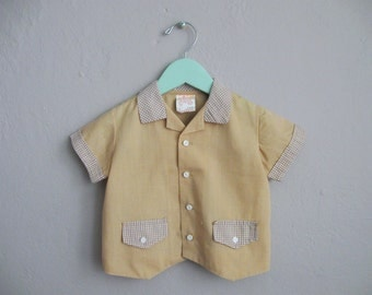 Vintage Boys Shirt / Tan Brown Gingham Button Down Shirt / 24 Months