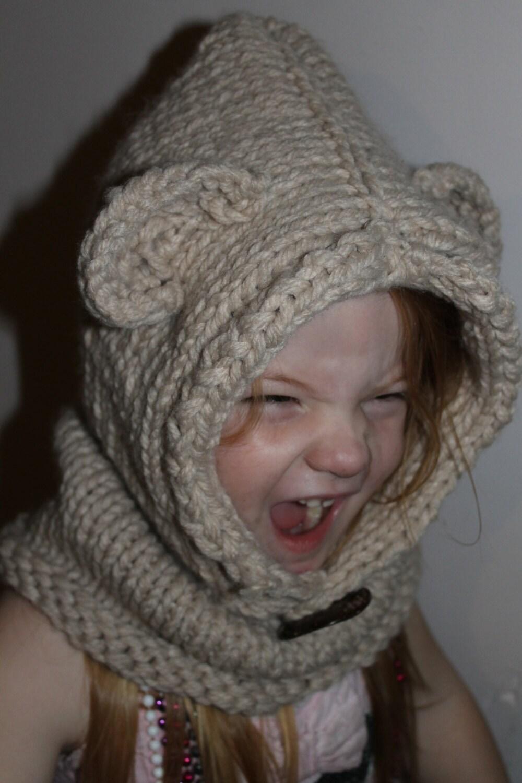 Knitting Pattern Bear Cowl : Knit Bear Cowl/Hood by KnitTwoPurlTwoAus on Etsy