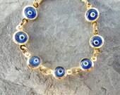 Evil eye bracelet blue glass jewelry gifts for women girl birthday chirtsmas present arabic turkish istanbul jewelry