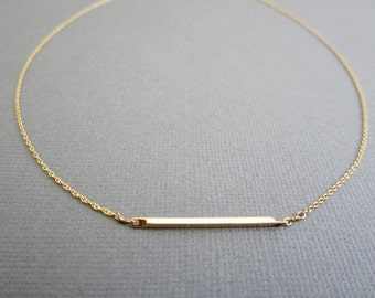 SALE - Bar Necklace, Gold Bar Necklace, Simple Gold necklace, layering necklace, Dainty everyday necklace, layered necklace, metal