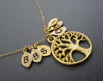 Family Tree Necklace, Tree of life Necklace with 6 initial charm leaf, hand stamp family necklaces, Mother's necklace, grandma's necklace