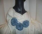 Light Blue Fabric Statement Flower bib necklace