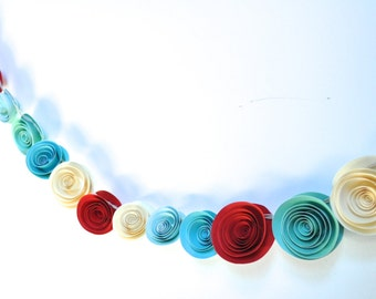 Teal and Red Garland Home Decor Paper Flower Garland