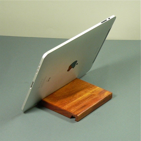 iPad stand - Monkey wood  - Fits all full size  iPads -  Use in Portrait and Landscape .