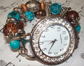 Brown and Turquoise Chunky Beaded Interchangeable Watch Band