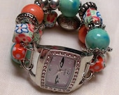Chunky  Beaded Orange and Green Interchangeable Watch Band and Face