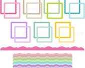 Digital Frames / tags and matching borders clip art  -  for cards, photography, scrapbooking, invites, general craft work