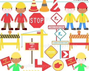 Construction clipart for cards, scrapbooking, invites, general craft work