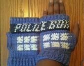 """Tardis Inspired Fingerless Gloves """"PATTERN ONLY"""""""