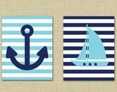 Nautical anchor and sailboat 11x14 wall art- Nautical nursery decor- Anchor print- Sailboat print- light blue and navy