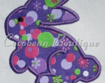 Purple bunny embroidery applique