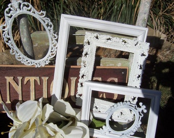 Shabby Chic PICTURE FRAMES - Set Of 5 Distressed Frames - Open Frames