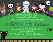 Trick or Treat Halloween Birthday Invitation - Personalized Custom Halloween Trick or Treat Invitation - Print Your Own