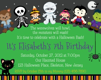 Trick or Treat Halloween Birthday Invitation - Personalized Custom Halloween Trick or Treat Invitation - Print Your Own