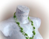 Pistachio Green Blackberry Crochet bead necklace
