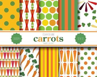 Carrot Digital Scrapbook Paper Orange Green Dots Stripes