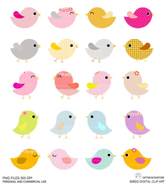20 Birds Digital clip art for Personal and Commercial use - INSTANT DOWNLOAD