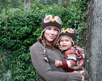 Mom and Toddler Sleepy Owl Hat Set/Photo Prop