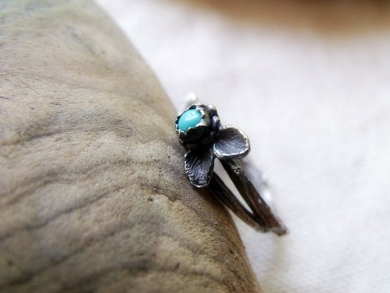Turquoise Twig Ring - Sterling Silver Gemstone Ring - Nature Jewelry - Made To Order Any Size