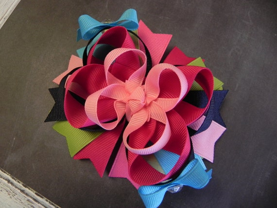 M2MG Smart and Sweet Layered Boutique Hair Bow - OTT over the top - M2M Made to Match - by sweetteabowtique
