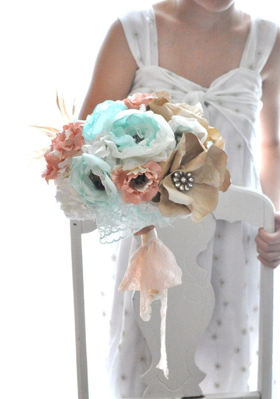 Deposit for Bea - Mint fabric flowers combined with apricot and white paper flowers