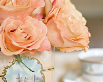 Dreaming of Home and Tea SQUARE (8x8 Original Fine Art Photograph) Romantic Roses
