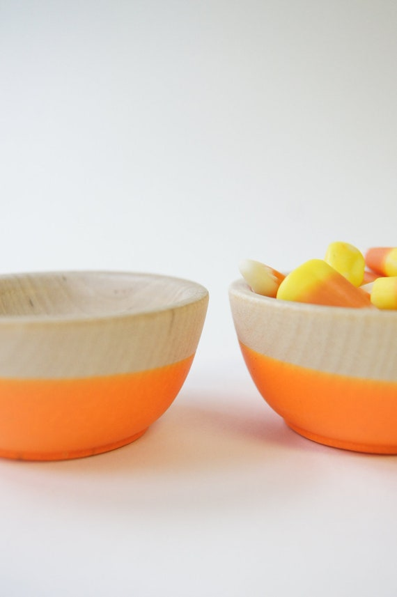 Wooden Mini Bowl Set of Two: Neon Orange. Halloween Decor
