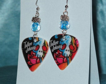 Handmade Tattoo Johnny Guitar Pick Earrings with blue and white bead