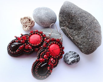 Beadwork Red Black Earrings Embroidery Stone Earrings Bead Embroidered Dangle Earrings Bright Red Jewelry  Ready to ship OOAK