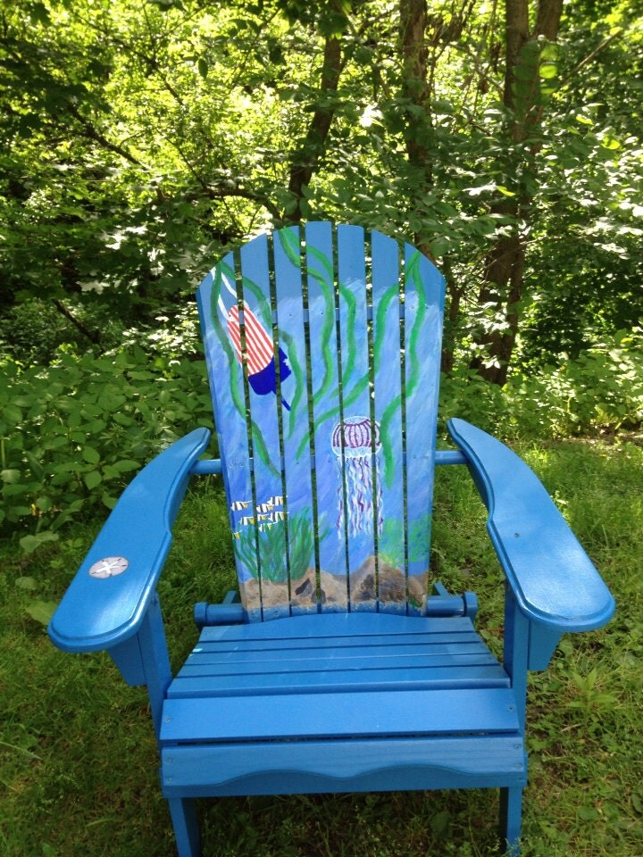 Hand Painted Adirondack Chair And Ottomans By Beachchairsbyk