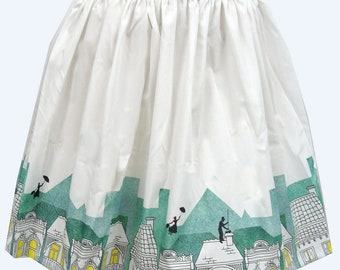 Spoonful of Sugar Border Print Full Skirt