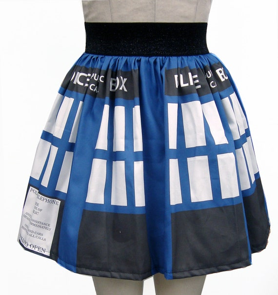 Police Box Inspired Full Skirt