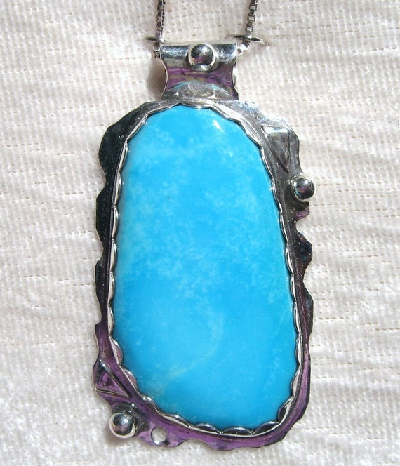 Turquoise Pendant Sleeping Beauty Robin's Egg Blue Bezel Set in 925 Sterling Silver