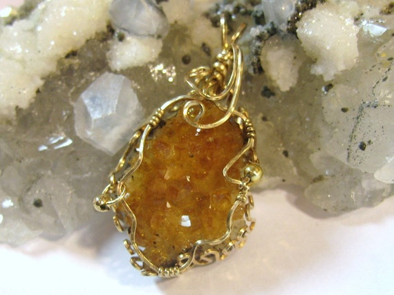 Citrine Druzy Pendant Wire Wrapped Crystals 14K Gold Filled Wire