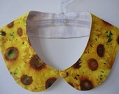 Sunflowers Detachable Peter Pan Collar, Cotton  -READY TO SHIP