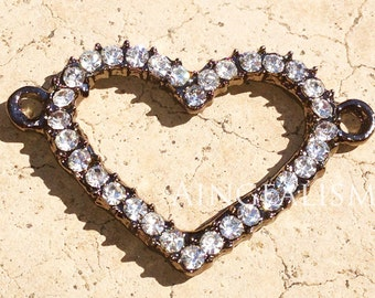 Gunmetal Heart Connector With Crystal Rhinestones - Large Heart Charm, RC082