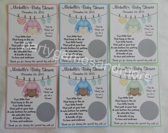 Unique Personalized Baby Shower Clothesline Baby Scratch Off Lotto Game Cards
