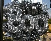 SALE Halloween Black and Silver BOO deco mesh wreath