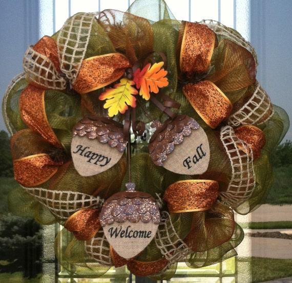 Happy Fall....Welcome deco mesh Wreath