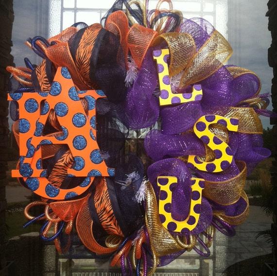 Auburn and LSU House Divided deco mesh Wreath